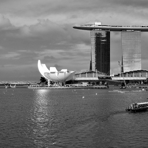 Marina Bay Singapore 180 degree BW motion panorama | Fuji 23mm F2 Asph (X100) <br> Click image for more details, Click <b>X</b> on top right of image to close